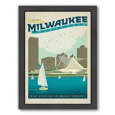 East Urban Home Milwaukee Framed Vintage Advertisement Frame Colour: Black, Size: H x W x D Poster Prints, Framed Prints, Canvas Prints, Design Art, Print Design, Church Of Our Lady, Vintage Travel Posters, Vintage Advertisements, Milwaukee