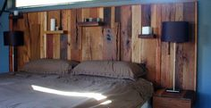 King size wood headboard - Upcycled stacked wood with integrated nightstands - modern rustic on Etsy, $2,500.00