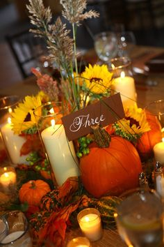 Wheat Arrangements for Weddings | Wedding Centerpiece with wheat, pumpkin table number. | Wedding Stuff
