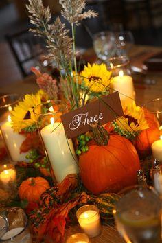 Wheat Arrangements for Weddings | Wedding Centerpiece with wheat, pumpkin table number. | Wedding Stuff
