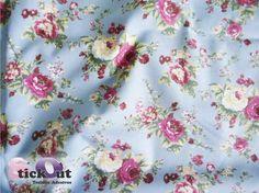 Tecido Adesivo Floral - Fundo Azul