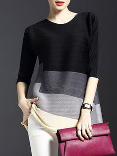 Ribbed Color-block Tunic