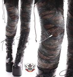 Punk Torn Distressed Broken Hole Ashy Gray Verdigris Tie Dye Mummy Legging S M L XL