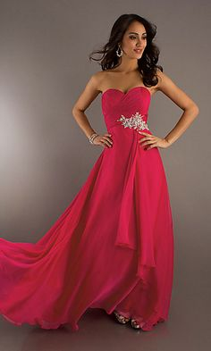Elegant Long Strapless Prom Dress