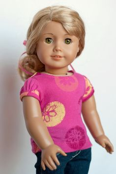 $8.50 Gathered Sleeve Tee for an American Girl Doll - Liberty Jane Pattern