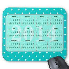 Mint Polka dots Pattern Calendar 2014 Mouse Pads