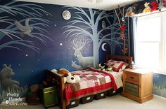 camping themed boy s bedroom, bedroom ideas, home decor, shelving ideas, Night side with forest animals illuminated by a light up moon