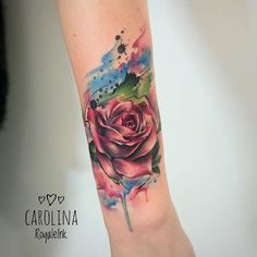 So beautiful!!!!  Rose tattoo watercolor Carolina Avalle