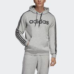 Adidas Essentials 3 Stripes Pullover Hoodie - Medium Grey Heather/Black - S Pullover Hoodie, Grey Hoodie, Sweatshirt Outfit, Hoodie Jacket, Black Adidas, Adidas Men, Adidas Shoes, Adidas Hoodie, Athletic Fashion