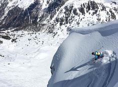 @ martypantzz making beautiful turns in Verbier.  Cool bright ski outfit is very noticeable skiing in the beautiful alps!