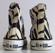 Rare Vintage USA Zebra Black Converse All Star Chuck Taylor Shoes Retro
