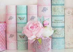 Shabby Chic Peony Photography Dreamy Pink Peonies by KathyFornal, $17.00 - Ooh I love those pastel coloured books!