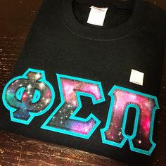 """How gorgeous are these #PhiSigmaPi in our Galaxy #1 Fabric on Turquoise Twill! This fabric looks gorgeous on Greek Pink, Turquoise, Purple, & Metallic…"""