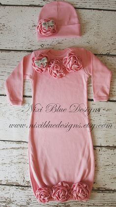 Newborn gown and hat Baby shower gift Baby layette Pink Infant girl first outfit Baby girl take home outfit Coming home outfit for girls Take Home Outfit, Coming Home Outfit, Cute Baby Girl, Baby Love, Baby Girls, Cute Little Girls Outfits, Kids Outfits, Baby Layette, Bitty Baby