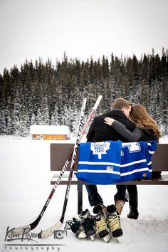 Banff/Lake Louise Winter engagement, lifestyle portraits,Outdoor portrait, hockey themed engagement, banff engagement photographer, www.kimpayantphotography.com