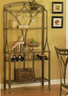 Amazon.com: Baker's Rack with Wine Storage - Bronze Finish: Home & Kitchen