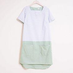 Moi 風格服飾夏日拼色條紋洋裝