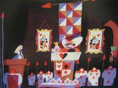 "the-disney-elite: ""Mary Blair's concept art for Walt Disney's Alice in Wonderland "" Alice In Wonderland Original, Alice In Wonderland 1951, Adventures In Wonderland, Mary Blair, Walt Disney, Epcot, Queen Drawing, Animation Disney, Disney Artists"