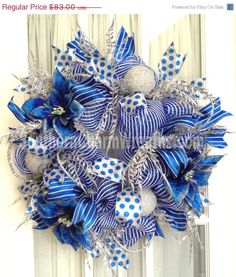 FREE SHIPPING Deco Mesh CHRISTMAS Royal Blue White Silver Wreath For Door or Wall. $65.00, via Etsy.