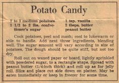 Potato Candy - Recipe Clipping For Potato Candy.  My Mom used to make this for us every year.  It's put together like a jelly roll, chilled and sliced.  It's a great old fashioned candy for the Holidays.