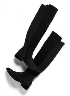 As seen in O, The Oprah Magazine: Chico's Roxee Boot. Knee-high suede boots with a stretchy back are ultra alluring and guaranteed to grab the spotlight. Black Uggs, Black Boots, Black Suede, Chico Clothing, Knee High Boots, Knee Boot, Kinds Of Shoes, Pretty Shoes, Casual Boots