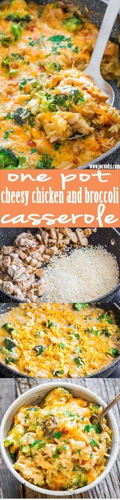 One Pot Cheesy Chicken Broccoli and Rice Casserole Recipe