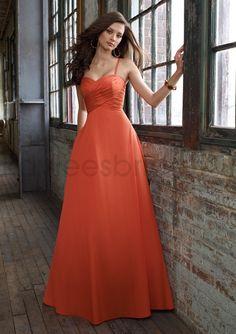 Sweetheart A-Line Neckline Spaghetti Shoulder Straps Ruched Bodice  Bridesmaid Dress