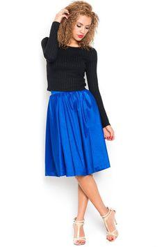 Something Blue Pleated Midi Skirt - Royal Blue