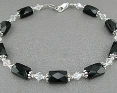 Crystal & Faceted Black Onyx Anklet - Black Onyx Ankle Bracelet, X-Small to Plus Size Anklet or Plus Size Ankle Bracelet, Sizes Inches Ankle Jewelry, Ankle Bracelets, Crystal Bracelets, Black Bracelets, Diy Jewelry Necklace, Necklaces, Jewellery, Anklet Designs, Gold Chains For Men