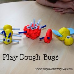 Making bugs out of play dough and working on scissor skills while cutting the dough and add ons for the insects and mini beasts. Eyfs Activities, Playdough Activities, Preschool Activities, Preschool Curriculum, Homeschooling, Preschool Bug Theme, Preschool Crafts, Crafts For Kids, Science Crafts