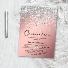 Rose Gold Quinceanera Invitation, Pink and Silver Sweet 16 15 Fifteen Sixteen Birthday Invite, Printed Glitter Pink Blush Confetti Party Glitter Invitations, Bachelorette Party Invitations, Sweet 16 Invitations, Quinceanera Invitations, 1st Birthday Invitations, Save The Date Invitations, Bridal Shower Invitations, Graduation Invitations, Invitation Cards