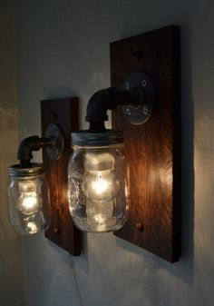 Industrial Wall Light Pair Wall Sconce Steampunk by BLRdesign