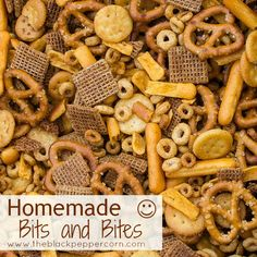 Homemade Bits and Bites Recipe - Shreddies, Cheerios, Cheese Bits, Pretzels and Snack Mix Recipes, Appetizer Recipes, Cooking Recipes, Appetizers, Snack Mixes, Salty Snacks, Yummy Snacks, Yummy Food, Korn