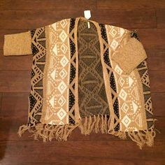 Aztec sweater Fringe Aztec cardigan. Really soft and would be warm enough on a cool day Sweaters Cardigans