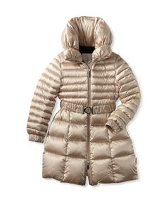 34b694791765 55% OFF Moncler Kid s Quilted Long Satin Coat (Taupe) www.