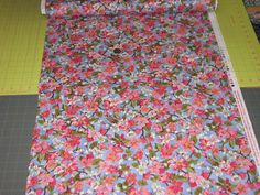 Fat Quarter, 1/2 yd or 1 yd apple cherry blossoms blue Background Quilt 100%  Cotton Fabric Maine sewing crafting supply