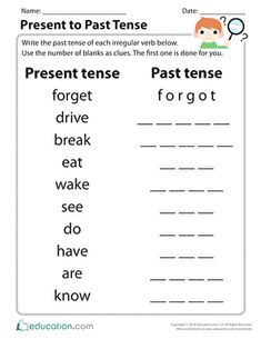 Do your students need extra practice with irregular past tense verbs? This simple sheet will clue them in! Students will convert present tense verbs to past tense verbs using the number of letter blanks to help guide them to the proper spelling. English Worksheets For Kids, 2nd Grade Worksheets, English Lessons For Kids, Spanish Lessons, Printable Worksheets, Present Past Tense, Present Tense Verbs, Simple Past Tense Worksheet, English Past Tense