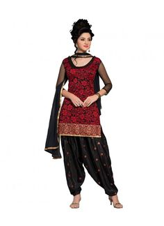 Bottom Fabric Silk Colour Red, Black Dupatta Fabric Butter Fabric Net, Brasso Fabric Care Dry Clean Only Inner Fabric Raw silk Occasion Festival, Casual Shipping time 7 days Size Free Size Type Dress Material Work Embroidered