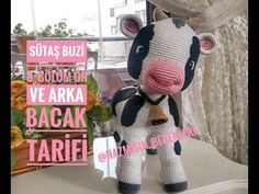 35 cm tall amigurumi calf section front and back leg preparation . Crochet Cow, Crochet Animals, Crochet Hats, Baby Knitting Patterns, Crochet Patterns, Cow Pattern, And July, Amigurumi Toys, Stuffed Animal Patterns