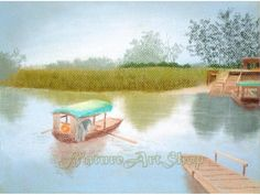 """Items similar to Countryside painting Original Pastel Drawing """"Landscape Drawing from Countryside II"""" boat painting Landscape painting interior decorating on Etsy Landscape Drawings, Landscape Paintings, Landscapes, Boat Painting, Colorful Nail Designs, Pastel Drawing, Interior Paint, Chinoiserie, Countryside"""