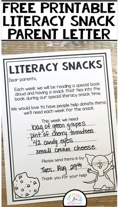 Free Printable Literacy Snack Parent Letter