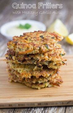 Quinoa fritters with healthy garlic aioli and they are dairy free too! Yummy!