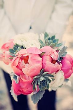 Succulent Bridal Bouquets {Trendy Tuesday} | Confetti Daydreams - Stunning succulent bridal bouquet with white ranunculus and bright pink peonies ♥  ♥  ♥ LIKE US ON FB: www.facebook.com/confettidaydreams ♥  ♥  ♥ #Wedding #Succulents #Bouquets