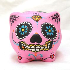 Sugar Skull Piggy Bank - Day of the Dead, Mexican, Tattoo Style- Original