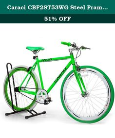 Caraci CBF2ST53WG Steel Frame Fixed Gear Bike, White/Green, 53cm. Frame: 700C, Steel, 53cm; Fork: Steel; Handlebars: Steel; Stem: Steel; Crankset: 48T x 170mm/Alloy; Hub: 14G x 32H/Alloy; Bearing Type: Sealed; Spoke: Steel Bladed; Tires: 700C x 35mm; G.W.: 38 lbs.; N.W.: 29 lbs.; Available Color: Black, Blue, Orange, Red, Pink, Yellow. Caraci Bicycles is a new company with a great product. Specializing in fixed gear bikes they offer tons of colors and frame styles. Not to mention very…