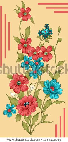 abstraktes Blumengesteck Stockillustration 1387116056 Bunch Of Flowers, Botanical Flowers, Illustrations, Abstract Flowers, Stock Foto, Chinese Painting, Fabric Painting, Ink Art, Vintage Flowers