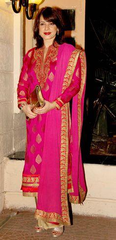 Neelam Kothari at Ekta Kapoor's Diwali bash. #Bollywood #Fashion #Style #Beauty