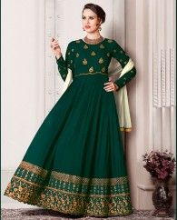 1. Pine green georgette anarkali suit 2. Beautiful zari embroidered with stone work 3. Comes with a matching shantoon bottom and chiffon dupatta 4. Can be stitched upto bust size 42 inches