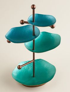 Turquoise and Green 4-Tiered Jewelry Stand