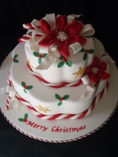 This was inspired by Colette Peters Christmas Cake pictured on the cover of American Cake Decorating Nov/Dec 1995 issue. This cake is the Wi. Christmas Cake Designs, Christmas Cake Decorations, Christmas Cupcakes, Christmas Sweets, Holiday Cakes, Christmas Cooking, Xmas Cakes, Merry Christmas, Christmas Cakes Pictures